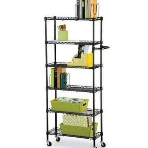"Rolling Kitchen 6 Shelf Pantry Rack- Black 56"" R&K"