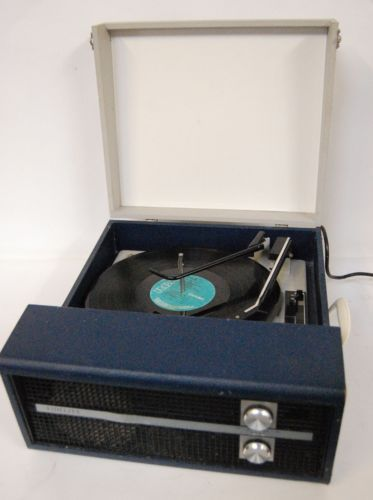 Portable Record Player Record Player And Blue Grey On