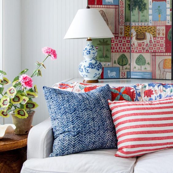 Our Resist Indigo pillow is perfect paired with red and white ♥️💙. Use code heart25 for 25% off our sale section - ends tomorrow!