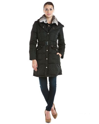Laundry by Shelli Segal Black Down Coat with Rabbit Fur Trim $129