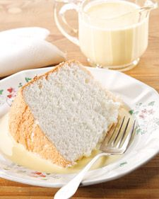 """This wonderful dessert recipe for mama's angel food cake with bourbon creme anglaise is courtesy of Virginia Willis and can be found in her """"Bon Appetit, Y'all"""" cookbook."""