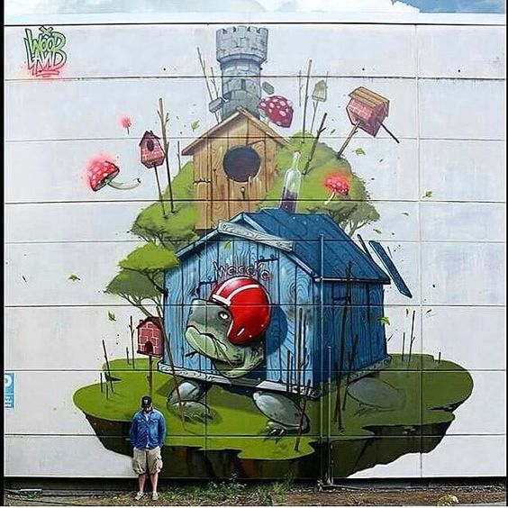 Artist @misterwoodland #mural #wallart #spraypaint #sprayart #drawing #painting #graffiti #arteurbano #streetart #graphicdesign #contemporaryart