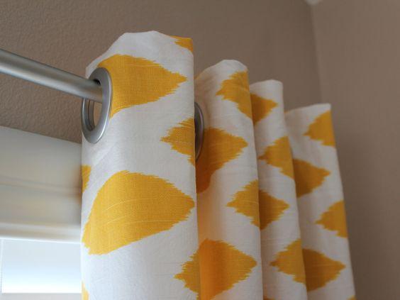 Pair of Designer Custom Curtain Panels Yellow White Ikat with Grommets. $185.00, via Etsy.