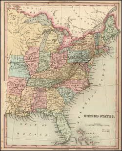 United States Antique Map USA Tanner 1836 Philadelphia usa