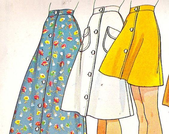 McCall's 4530 Vintage 70s A-line Skirt Sewing Pattern W26 ...