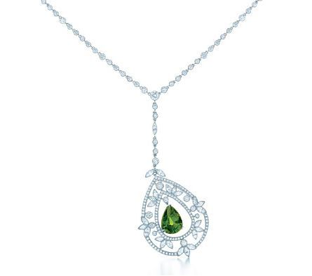 Tiffany pendant with a pear-shaped tsavorite and diamonds in platinum, from the 2013 Blue Book Collection.