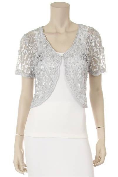 Silver Lace Bolero Jacket Short Sleeve w/ floral pattern,small ...