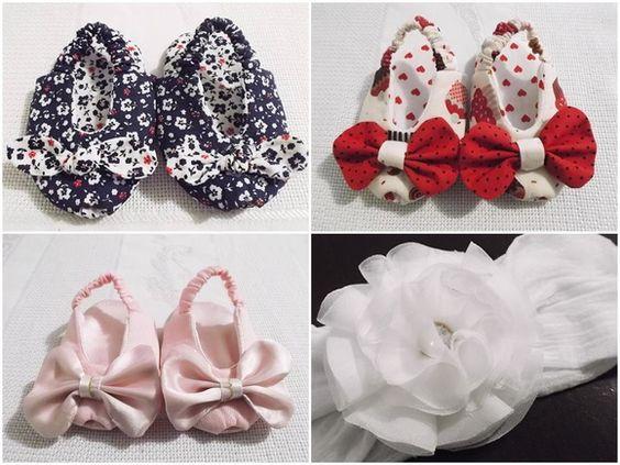 Kit com sandálias de bebê peep toe (acertinho na ponta) em tricoline ou cetim forrados e estruturados com manta resinada, com acabamento perfeito, sem costura aparente e detalhe de laço.