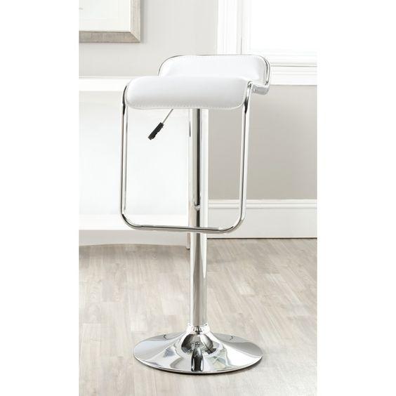Safavieh Taronda White Adjustable Height Swivel 23.8-32.3-inch Adjustable Bar Stool