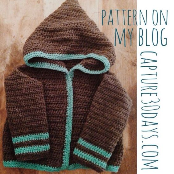 Free Crochet Pattern For Hooded Jacket : Free crochet, Jackets and 30 day on Pinterest