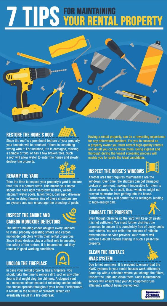 7 tips for maintaining your rental property infographic