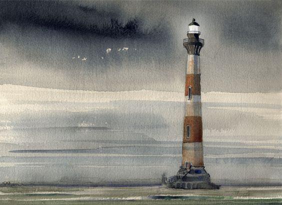Morris Island Lighthouse . watercolor . illustration