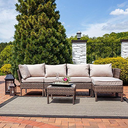 New Barcelona Deluxe Outdoor Garden Rattan Angled Corner Sofa With Armchair Table And Pouf Rattan Corner Sofa Garden Furniture Outdoor Garden Furniture