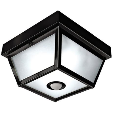 Ceiling Motion Light: Square Black Finish Motion Sensor Outdoor Ceiling Light - Title 24 approved  This is on backorder,Lighting