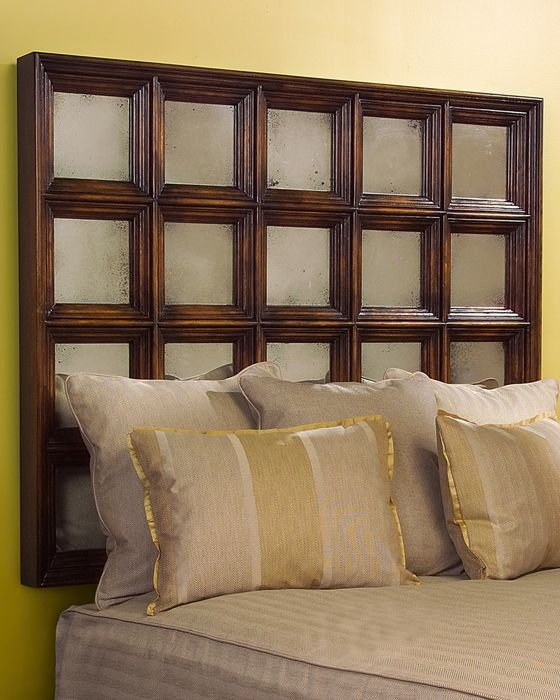 "51""H X 82""W X 4""D Mercier Headboard King With Foxed Mirror Panes Set Within Deep Moulded Frames, Finished In Sable"
