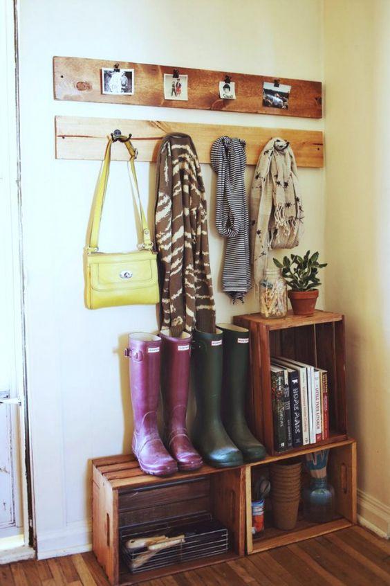 Garderobe Coole Ideen : Garderobe aus Obstkisten für den Flur Coole Alternative  DIY Ideen