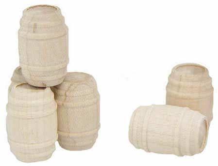 """7/8"""" Unfinished Wood Mini Barrels - 7pcs"""