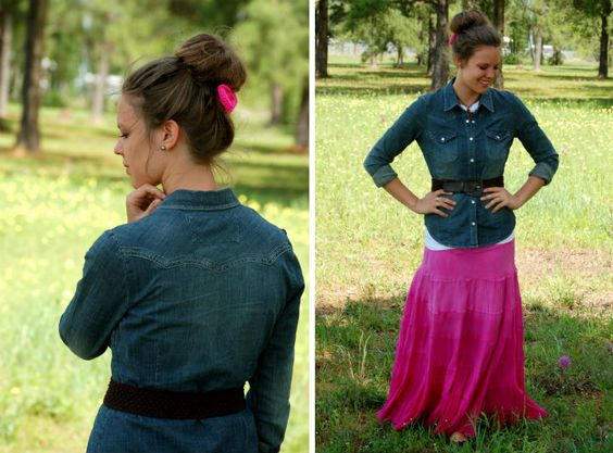 spring outfit featuring a pink maxi skirt and chambray top. creations by callie