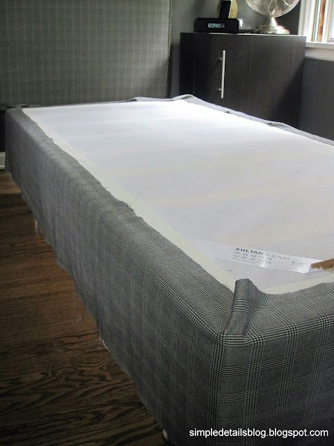 how to cover a boxspring with fabric using an ikea sultan aram foundation 100 and sultan. Black Bedroom Furniture Sets. Home Design Ideas