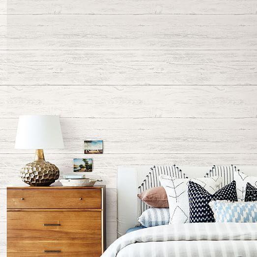Stacked White Wood Grain Peel Stick Wallpaper In 2021 Wood Accent Wall Bedroom White Wood Wallpaper Wood Wallpaper Bedroom