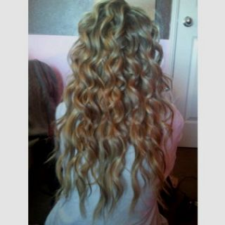 Curly long blonde hair