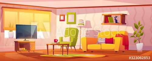 Spring Interior Of Living Room With Sofa Armchair Bookshelves And Tv Vector Cartoon Illu Spring Interiors Living Room Background Modern Living Room Interior