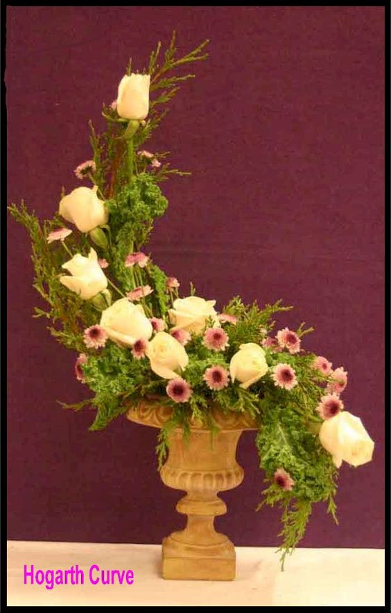 l shape floral arrangement | Hogarth Curve Design | Floral ...