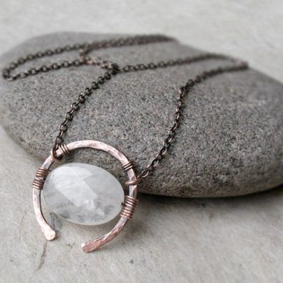 Rose Quartz Necklace, Universal Love Stone, Copper or Sterling Silver, Oxidized Hammered Wire Pendant, Gemstone Necklace, Heart Chakra Gift