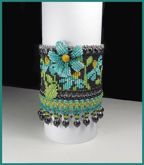 "www.beadsbeadingbeaded.com ""Teal Cone Flower Cuff"" Loom woven by Erin Simonetti"