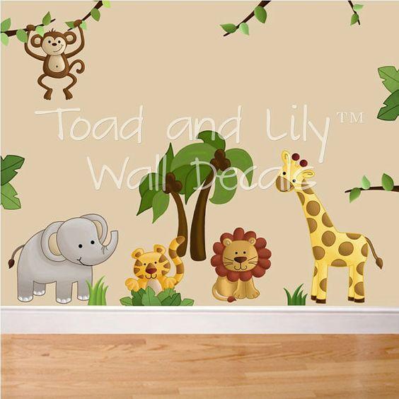Jungle animals nursery art and boys on pinterest for Safari fabric for nursery