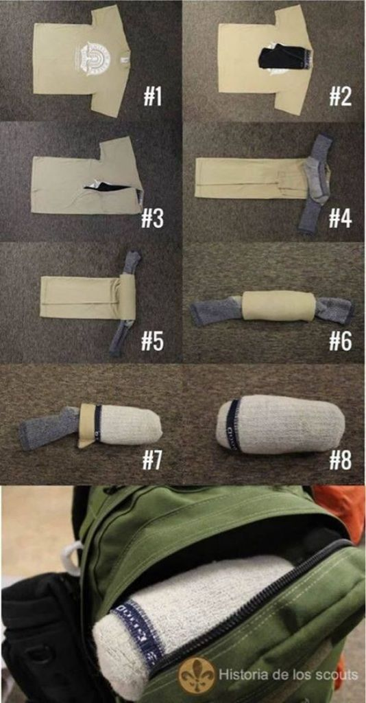 Conserve space while packing. Shirt, underwear & socks all rolled into 1 small bundle