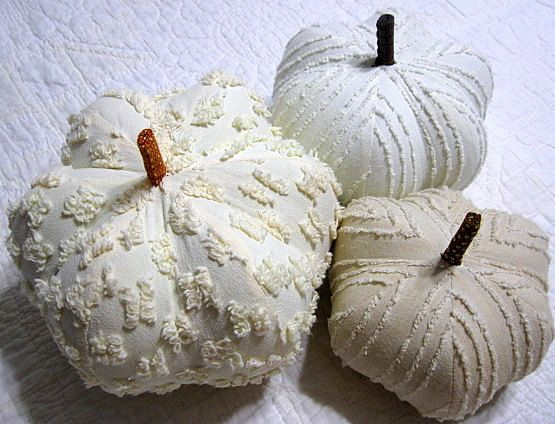 fabric pumpkins Shades of white vintage Chenille by ...