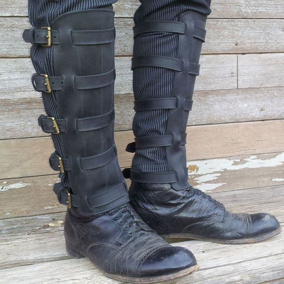 Steampunk Black Leather Shin Guards or Gaiters by VampieOodles