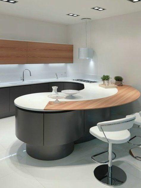 La Cuisine Arrondie Dans 41 Photos Pleines D Idees Curved Kitchen Home Decor Kitchen Modern Kitchen Design