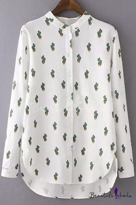 Fashion Women Basic Button Downs Cactus Print Shirt