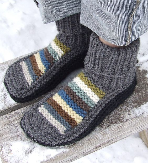 Free Knitting Pattern for Nola's Slippers - Nola Miller designed this versatile easy pattern in garter stitch and rib.  Project with striped upper by knittingiris