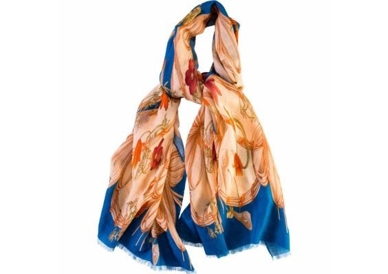 Calabrese Flower Scarf In Teal |  #WomensFashion #Fashion #Accessories #Scarf #Scarves #SilkRoadEXPO SilkRoadEXPO.com