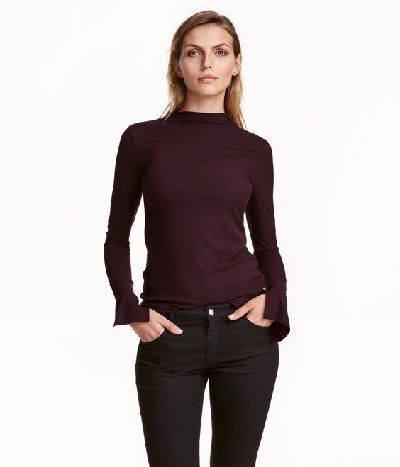 Geripptes Shirt   Pflaume   Damen   H&M DE