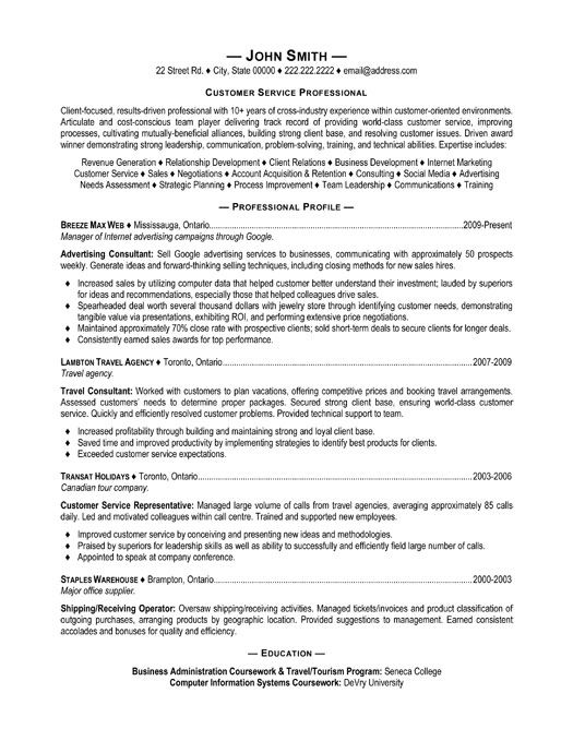 Customer Service Marketing Resume