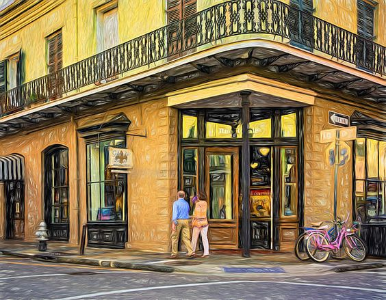 French Quarter Art - Paint.  Galerie d'art Francais on Royal Street in the French Quarter of New Orleans has been around since 1915. Paint version.