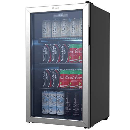 Vremi Beverage Refrigerator And Cooler 110 To 130 Can Mini Fridge With Glass Door For Soda Beer Or Wine Small Drink Dispenser Machine For Office Or Bar With In 2020