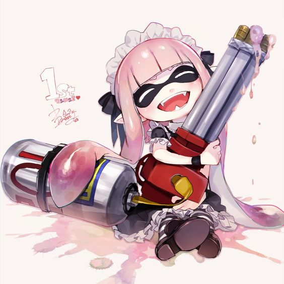 1girl ^_^ ^o^ alternate_costume anniversary bangs black_dress blunt_bangs blush brown_shoes closed_eyes domino_mask dress enmaided frilled_sleeves frills gatling_gun gun holding holding_weapon horizontal-striped_legwear hoyashi_rebirth inkling loafers maid maid_headdress mask number object_hug pantyhose pointy_ears puffy_short_sleeves puffy_sleeves shoe_soles shoes short_sleeves sitting solo splatoon sploosh-o-matic_(splatoon) striped striped_legwear sweatband twintails weapon
