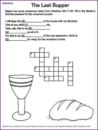 The Last Supper Jesus Crossword