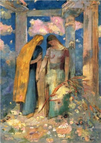 ⊰ Posing with Posies ⊱ paintings of women and flowers - Mystical Conversation - Odilon Redon: