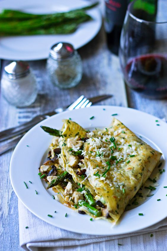 Asparagus Crepes With Mushroom Dill Sauce Recipe — Dishmaps