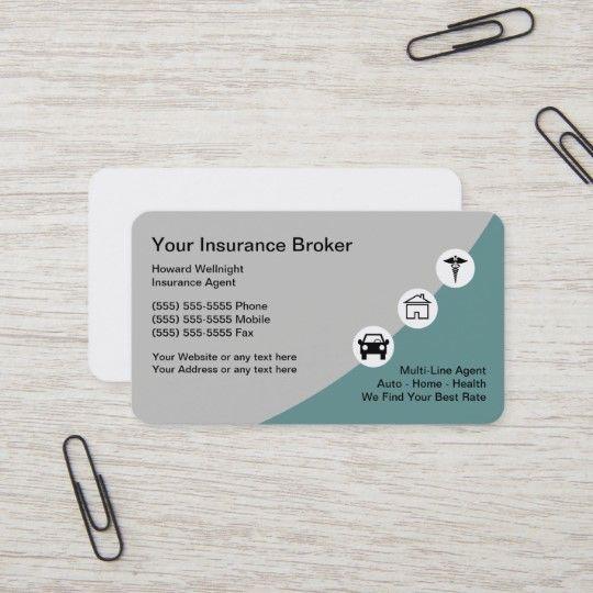 Insurance Modern Broker Business Cards Zazzle Com In 2020