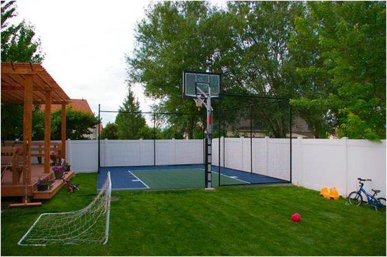 Backyard Paver Basketball Court Backyard Ideas Backyard Basketball Backyard For Kids Outdoor Playground