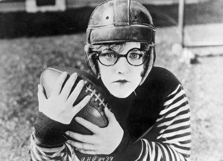 "Mildred Davis in hubby Harold Lloyd's costume for ""The Freshman"""