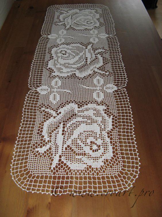 Table runner crochet table runner m c kh n tr i b n for Chemin de table crochet