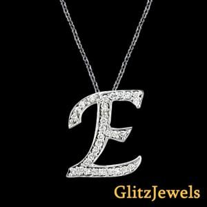 "18K White Gold 0.20 Ctw Round Brilliant SI/G-H Diamond Initial E Pendant With 18"" Chain  http://www.glitzdiamond.com/product/22037/18K_White_Gold_0.20_Ctw_Round_Brilliant_SI_G-H_Diamond_Initial_E_Pendant_With_18%22_Chain/"